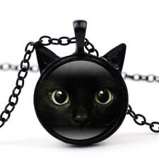 Chain Pendant Necklace Lovely Jewelry Gift Black Cat Art Photo Round Glass