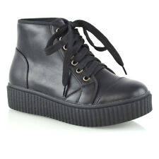 Womens Lace up Ankle BOOTS Ladies Rubber Platform Wedge Goth Combat BOOTIES Size UK 6 / EU 39 / US 8 Black Synthetic Leather