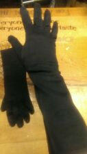 VINTAGE BLACK GLOVES COTTON CLOTH FOREARM LENGTH CLASSY AND BEAUTIFUL