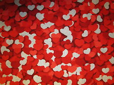 HEARTS RED SILVER GLITTER VALENTINES DAY HEART COTTON FABRIC FQ