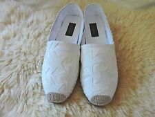 NEW $545 VALENTINO ESPADRILLE CANVAS STAR FLAT WHITE ON WHITE 38