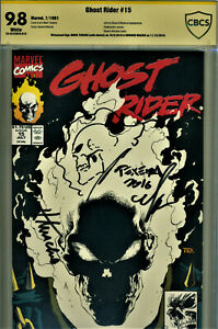 GHOST RIDER #15 CBCS SS 9.8 SIGNED WITH SKETCH BY MARK TEXEIRA & HOWARD MACKIE!