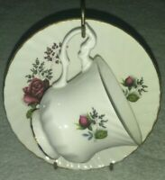 Vintage Royal Dover Bone China Tea Cup & Saucer Made In England Dark Pink Rose