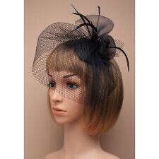 Mariage/Ascot/Races ruban fleur chapeau voile plumes Net Pince à Cheveux Bibi