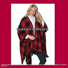New Woman Within Womens Plus size 1X Red Black Plaid  Poncho Wrap Tunic Sweater