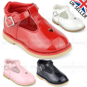 BABY SPANISH STYLE T-BAR SHOE BABY GIRLS SHINY PATENT SHOE RED WHITE PINK BUCKLE