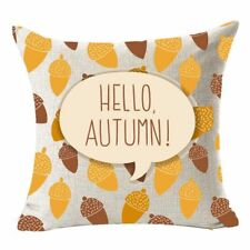 Fall Harvest Nuts Hello Autumn Throw Pillow Case flax Home Office Living Ro M3D4