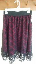 Lularoe Lola Black Floral Lace with Burgundy - NWT - Size Small