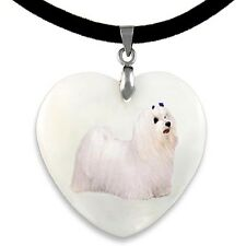 Maltese Dog Natural Shell Mother Of Pearl Heart Pendant Necklace Chain PP283