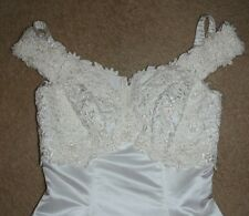 Mori Lee Sample Wedding Dress Tag Size 12 Ivory Satin Beaded Beautiful