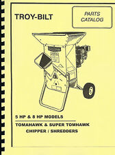 New Listingtroy Bilt Tomahawk Super Chipper Shredder Parts Manual 8hp 5hp
