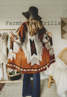 M Cowichan Medium Western Blanket Cardigan Brown Boho Sweater Coat Womens