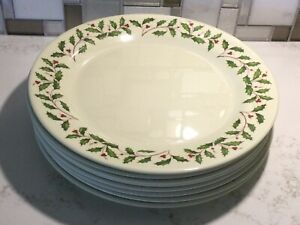 "Lenox Holiday Melamine - Holly Pattern - Set of 8 Dinner Plates 10"""