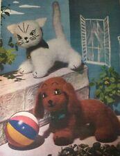 "Knitting Pattern For  Toy Animal Cat Kitten & Dog  Height 8"""