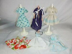 6 Pcs Vtg Barbie Clone & Handmade Clothing Dress & Robe PRETTY!