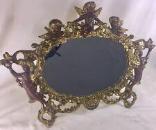 """Antique Art Nouveau Cast Iron Picture Frame Guilded Victorian Cherubs 18"""" x 13"""""""