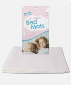 3X DISPOSABLE  BED MATS Baby Toddler Nursery Bedding Under Sheets Absorbent Pads