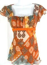 Studio Y Size S Blouse Womens Square Neckline & Tie Back Flare Sleeves Lined Top