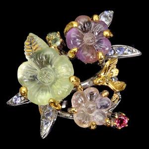 Handmade Flower Carvings Amethyst 24ct Ametrine Gems 925 Sterling Silver Ring 9