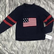 New Boys 5/6 Hartstrings Pullover Sweater Patriotic With American Flag On Front