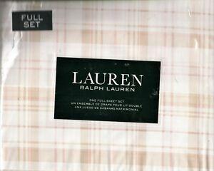 Ralph Lauren Full Sheet Set Erica Plaid Beige 4pc Cottage Blush Pink White Tan