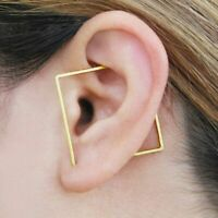 Square Earrings Handmade Ear Climber Modern Ear Cuff Gold 925 Silver Filled Gift