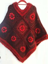 LUNiQUE Handmade crochet chunky embellished large floral Poncho in reds  🌺🌻