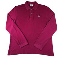 Mens LACOSTE Devanlay Long Sleeve Polo Shirt Red | Size 4 Medium M