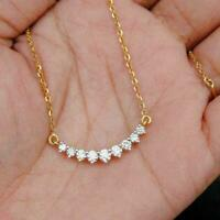 """14k Yellow Gold Over 1 Ct Round Cut Diamond Curved Charm Pendant Necklace W/18"""""""