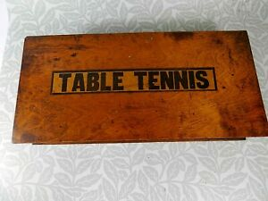 Vintage Table Tennis Set in Wooden Box with Net, Rackets, Balls & Attachments