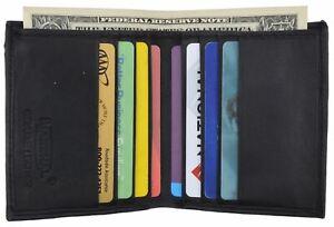 Mens Genuine Lamb Soft Leather Credit Card Holder Wallet Vertical Slots Black BR