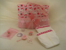 Pretty handmade Hello Kitty diaper bag with accessories.