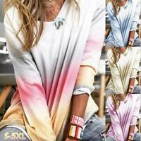 Womens Casual Sweatshirt  Autumn Long Sleeve Shirt Gradient Print Crew Neck Tops