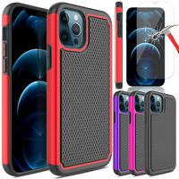 For iPhone 12 Pro Max/12 Pro/12/12 Mini Case Hybrid Cover/Glass Screen Protector