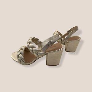 New Rebecca Minkoff Candace Block Heel Gold Sandal 9