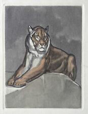 PAUL JOUVE GRAVURE EAU FORTE ETCHING ART DECO TIGRE TIGER LION PANTHERE 1930