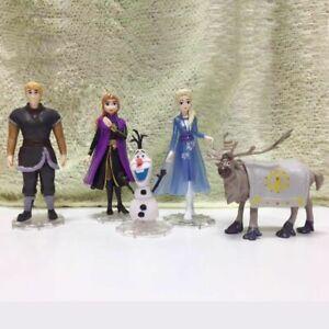 5 Pcs Frozen Elsa Anna Olaf Sven Dol Loose Figurine Figure Cake Topper Toy Set