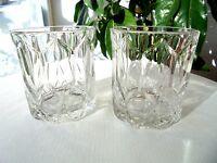 Set of 2 Crystal Royal Crown Rocks Glasses Old Fashioned Signed