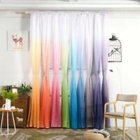 1 Panel Gradient Sheer Door Curtain Tulle Window Treatment Voile Drape Valance