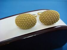 18K YELLOW GOLD BEAUTIFUL OVAL WOVEN DESIGN CUFFLINKS, SOLID GOLD, 16.5 GRAMS