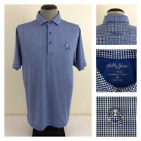 Bobby Jones X-H2O Mens M Golf Polo Blue Check Wicking UPF15 Minikahda Shirt