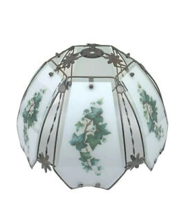 Touch Lamp Shade White Glass Green Ivy Metal Frame 6 Panels Vintage Works Flaw