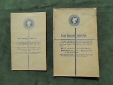 Two Victorian Stamped Registered Envelopes- Gb Postal History- 2 Pence