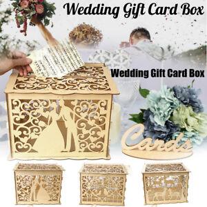 DIY Wedding Gift Card Box Wooden Money Box With Lock Romantic Wedding Decoration