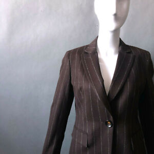 Talbots 2pc Angora Jacket Pant Suit sz S 4 6 Chocolate Brown Tailored Pinstripe