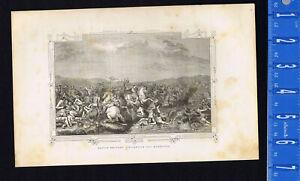 Battle of Milvian Bridge Between Constantine and Maxentius - 1846 Wood Engraving
