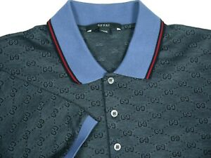 Gucci Polo Shirt Monogram GG Blue Mens 3XL Made in Italy Authentic