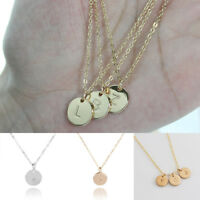 Women Gold Plated Initial Alphabet Letter A-Z Pendant Chain Necklace Gift