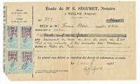 1923 french notary receipt with very nice official stamps and signature (1923)