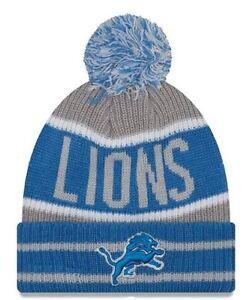Detroit Lions New Era Banner Block Cuffed Knit Pom Hat